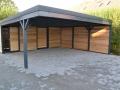 Doppelcarport und Geräteschuppen als Flachdachkonstruktion