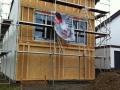 Neubau einer Pultdach DHH: Rohbau von außen