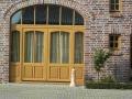 Meranti Massiv Haustür mit zwei feststehenden Seitenelementen und Oberlicht natur lasiert