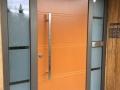Meranti Holzhaustür mit zwei feststehenden Seitenelementen