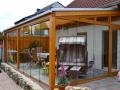 Holz/Aluminium Terrassendach mit Glas-Schiebe-Tür Elementen